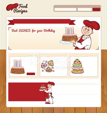 ウェブサイトのための食品レシピ テンプレート stock vector