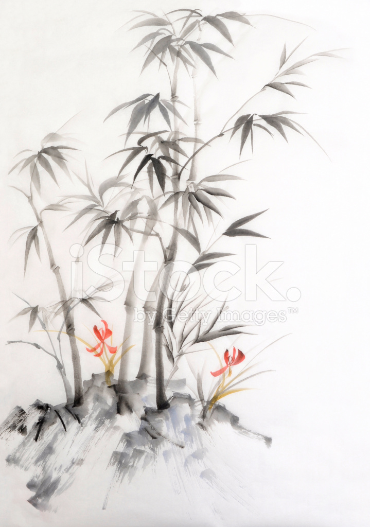 Aquarell Von Bambus Und Orchideen Stock Vector Freeimages Com