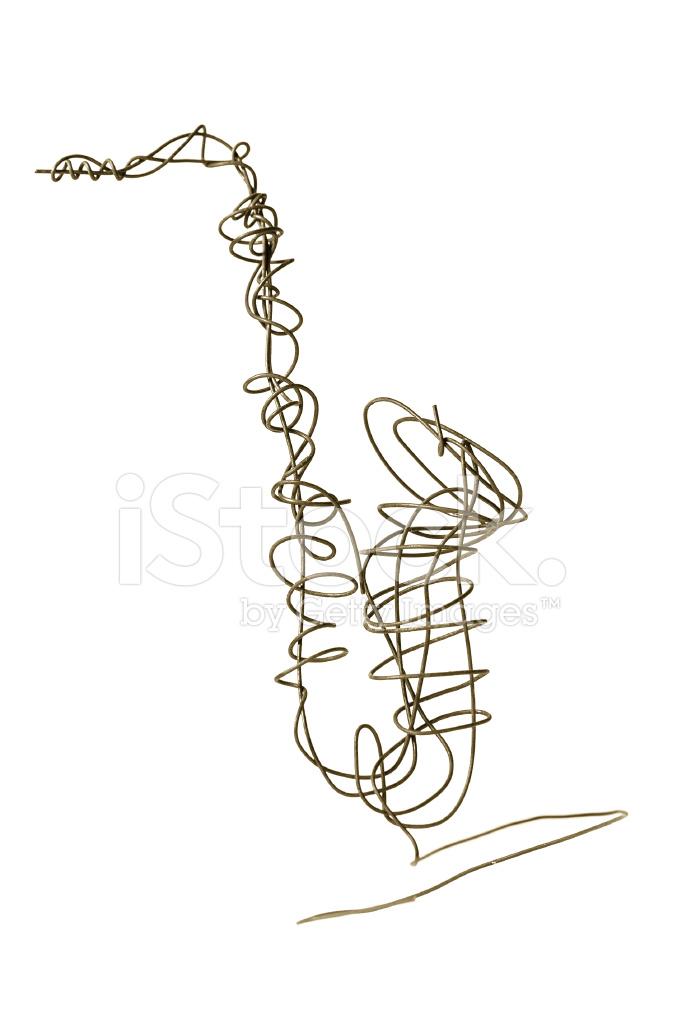 Tenor Saxophon Draht Skulptur Stockfotos Freeimages Com