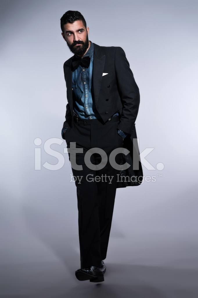 Retro Hipster 1900 Fashion Man With Beard In Black Stock
