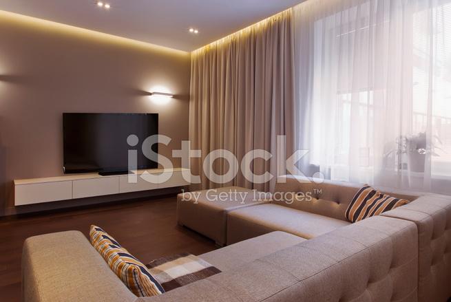Moderne Muziek Woonkamer : Interieur van een moderne woonkamer in luxe herenhuis stockfoto s