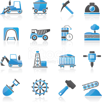 Mining and Quarrying Industry Icons Stock Vector