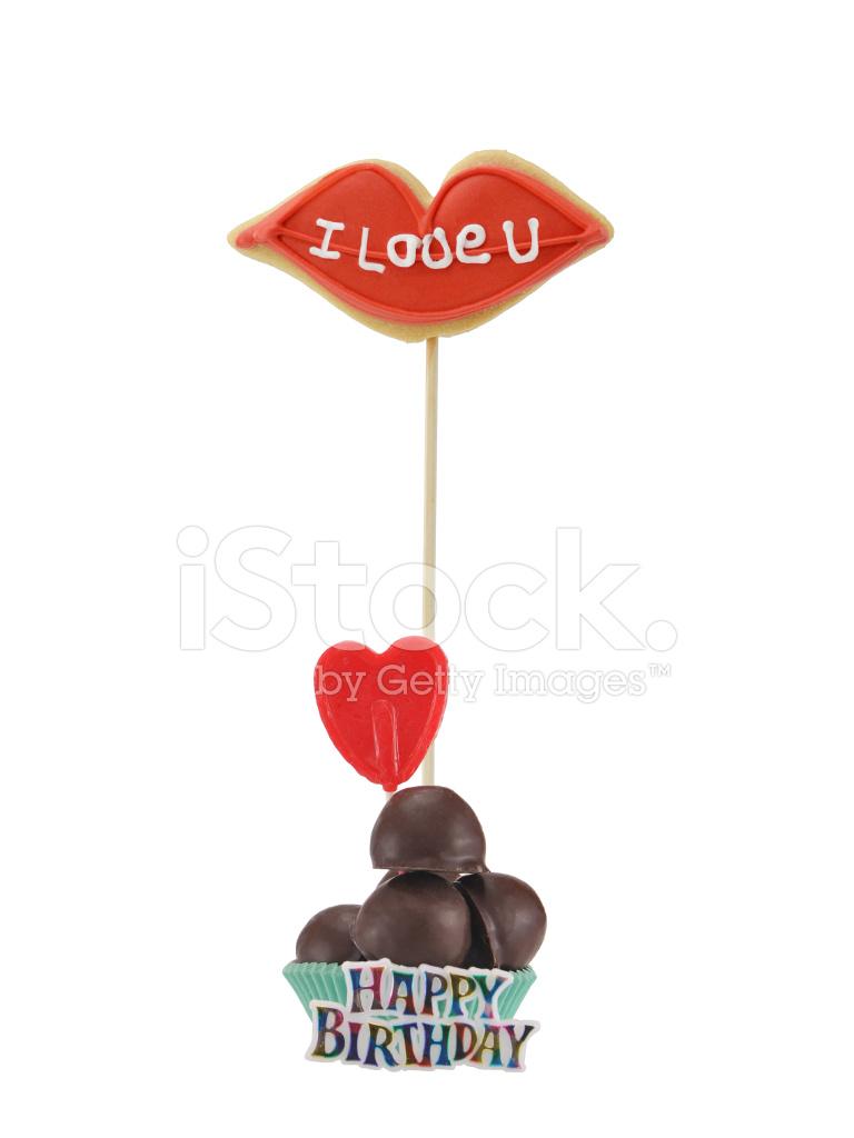 grattis på dig Jag Älskar Dig Grattis Hjärtat Lollipop Choklad Konfekt Stockfoton  grattis på dig