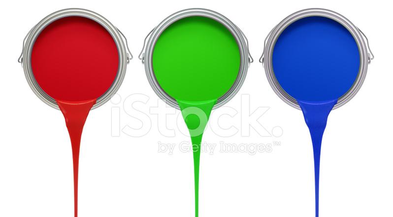 Lata De Tinta Vermelho Verde Azul Pingando De Xxl Fotos