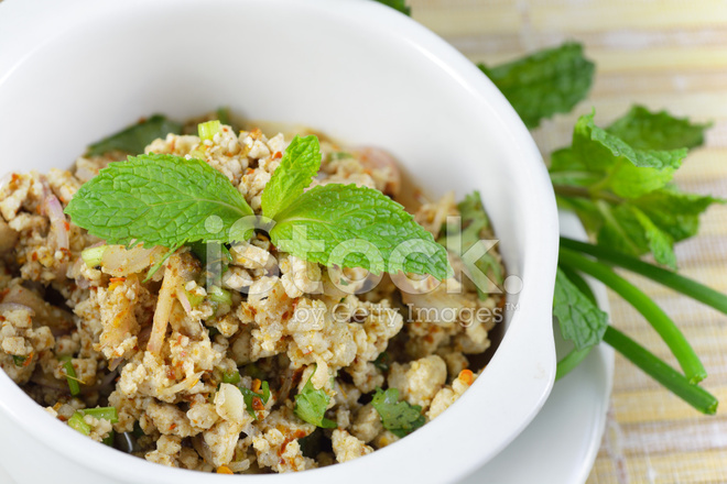 Larb Moo Spicy Thai Ground Pork Salad Stock Photos