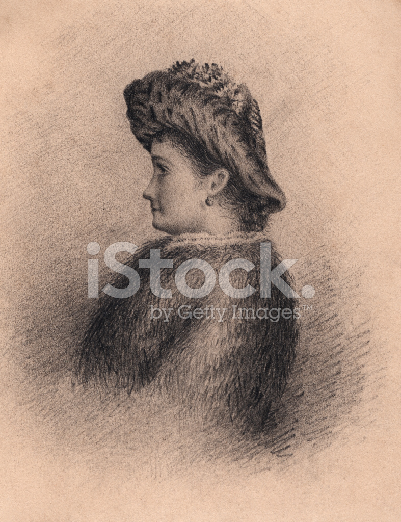 Victorianedwardian Pencil Drawing Of A Woman Stock Vector