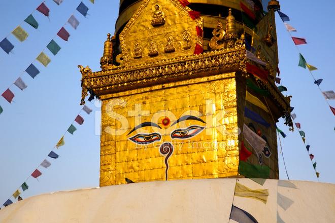 Symbol Of Nepal Buddhas Eyes In Kathmandu Stock Photos