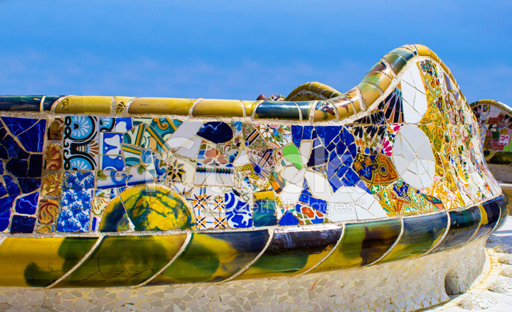 Mosaic Wall In Park Guell Barcelona Stock Photos
