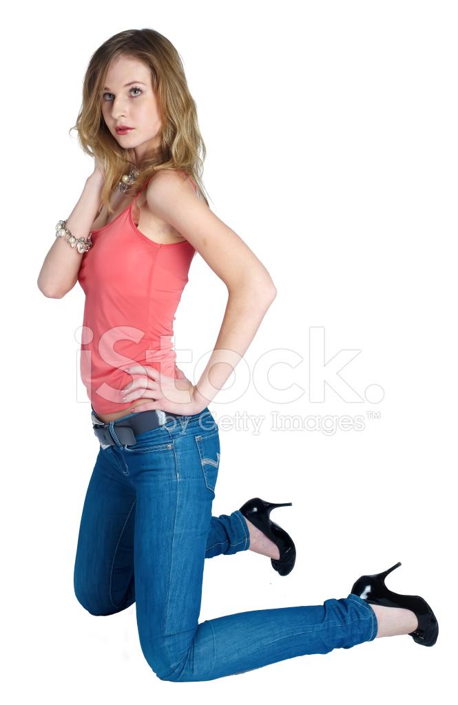 Beautiful Woman Standing On Knees Stock Photos