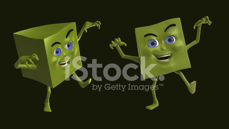 Carattere di scatola verde in posa zombie fotografie stock