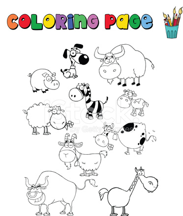 Página Para Colorear DE Granja Y Animales Salvajes Stock Vector ...