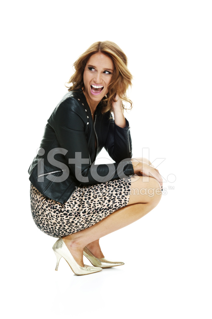 Cheerful Woman Crouching And Looking Away 23894 on cartoon mouth patterns