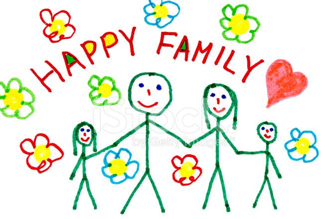 Dibujo DE Familia Feliz Del Color fotografas de stock