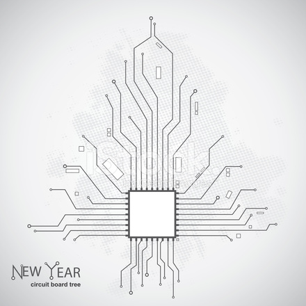 Circuit Board Pattern IN The Shape of The Christmas Tree Stock ...