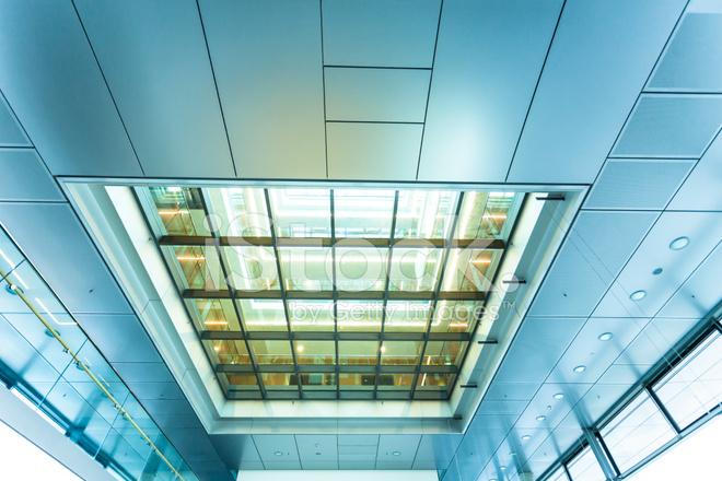 Glass Ceiling Inside Of Modern Office Building Stock