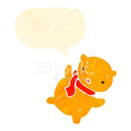 Ours En Peluche Dessin Anime Retro Avec Bulle De Dialogue Stock