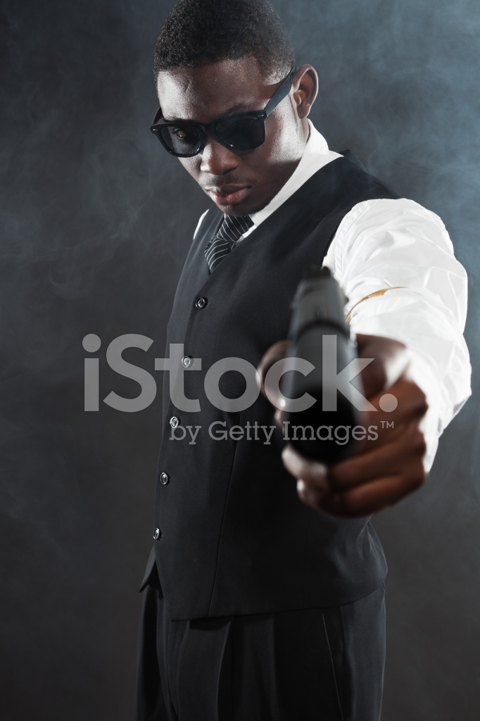 Black American Mafia Gangster Man In Suit With Stock