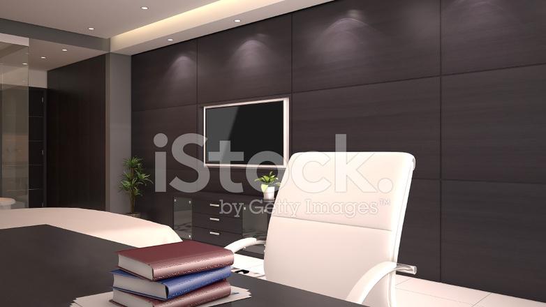 3d render van een hotelkamer interieur met een bureau