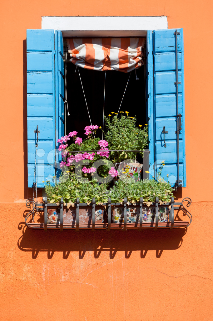 Burano Italy Window Of Colourful House Stock Photos