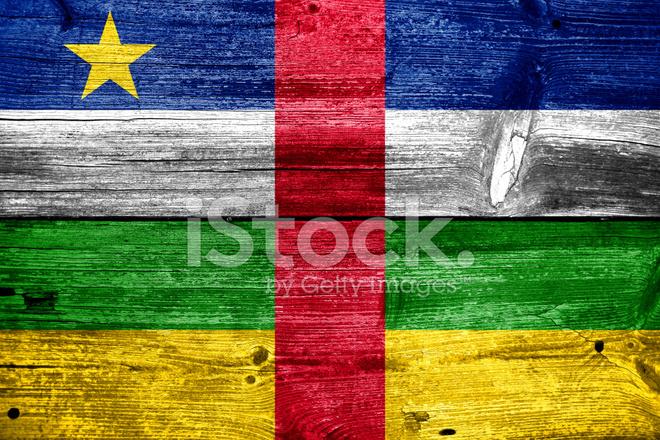 Zentralafrikanische Republik Flagge Gemalt Auf Alten Holz Plank