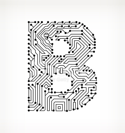 Letter B Circuit Board on White Background Stock Vector - FreeImages.com