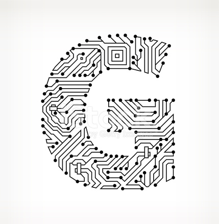 Letter G Circuit Board On White Background Stock Vector Freeimages Com