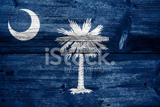 South Carolina State Flag Auf Alten Holz Plank Textur Gemalt