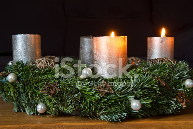 advent wreath with two burning candles stock photos. Black Bedroom Furniture Sets. Home Design Ideas