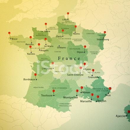 Frankrike Karta Square Stader Rak Stift Vintage Stockfoton Freeimages Com