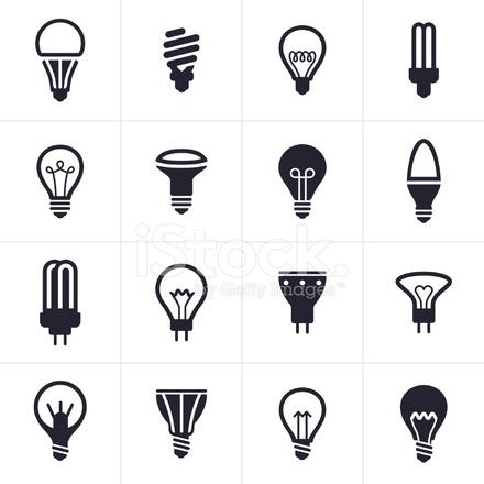Collection Of Sixteen Black Light Bulb Symbols Stock Vector