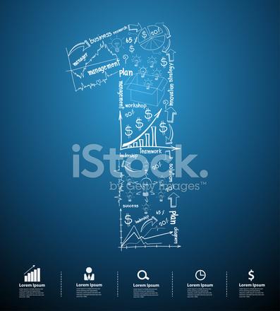 Alphabet Nummer 1 Kreativ Zeichnen Business Plan Konzept Ideen Stock