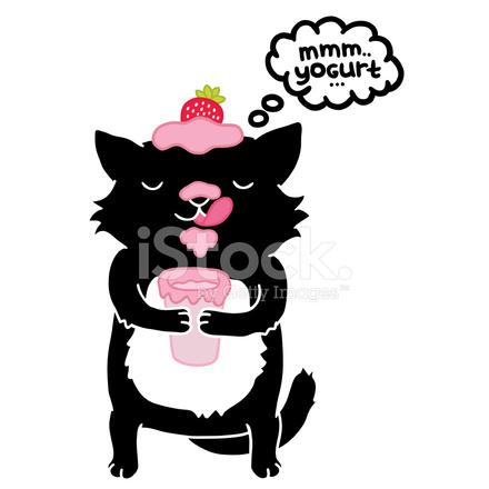 Chat Noir Avec Du Animal Mignon Dessin Anime Stock Vector