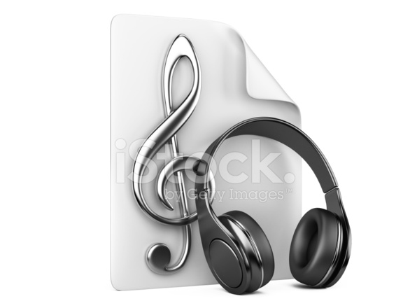 Headphones Music Notes: Headphones, Playlist And Notes Concept Of A Music Stock