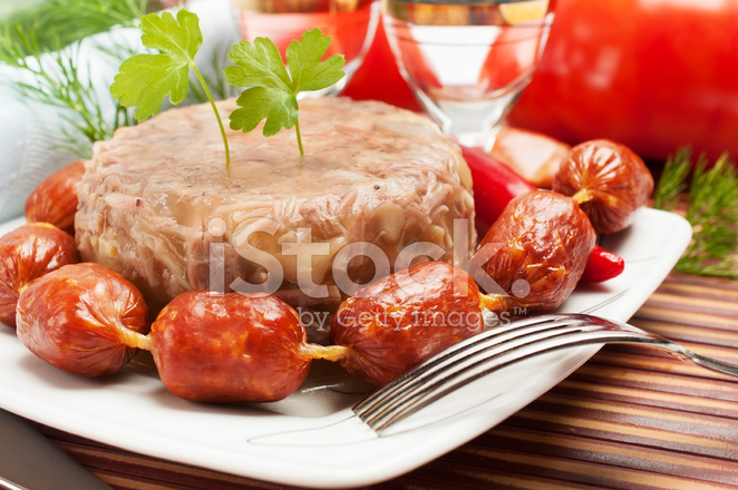 Traditional russian aspic meat jelly stock photos for Authentic russian cuisine