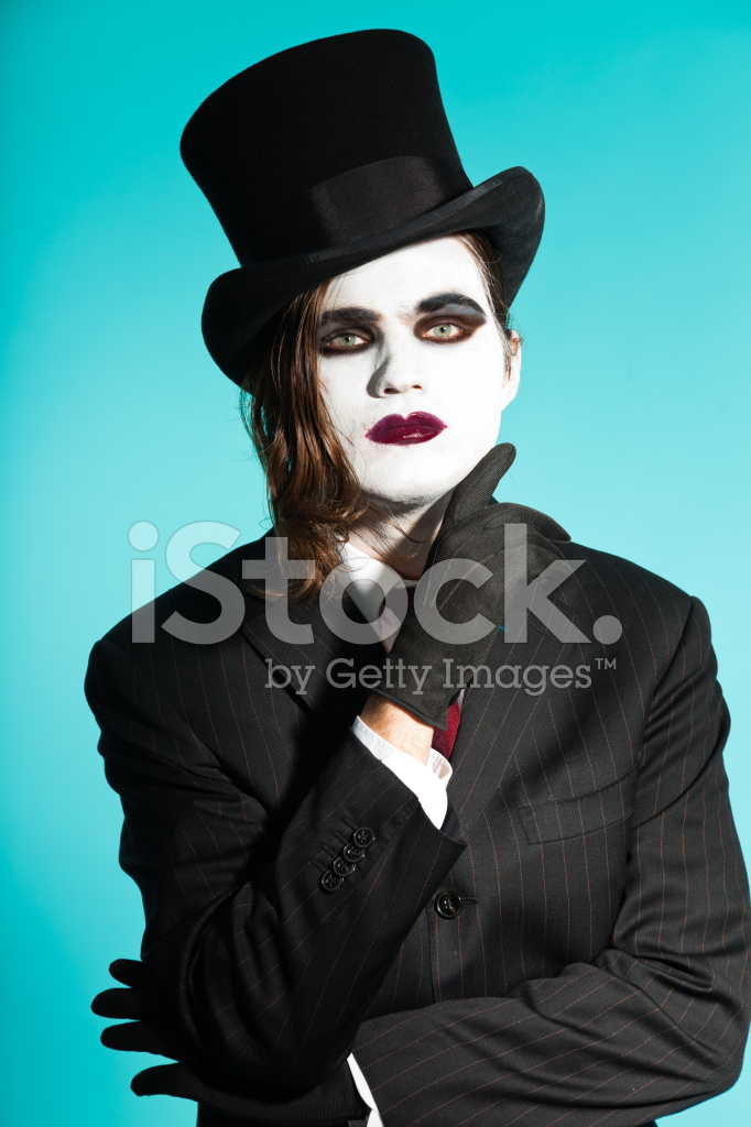 Gothic Vampire Looking Business Man Wearing Black Striped Suit