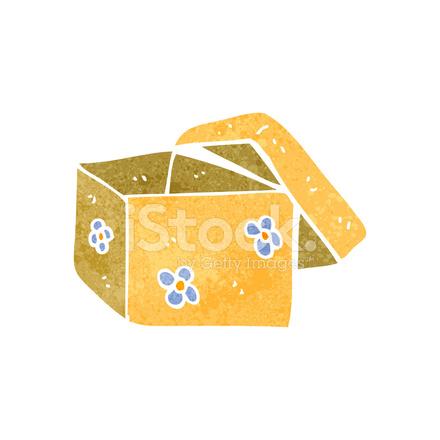 Caja De Regalo Abierto Dibujos Animados Retro Stock Vector