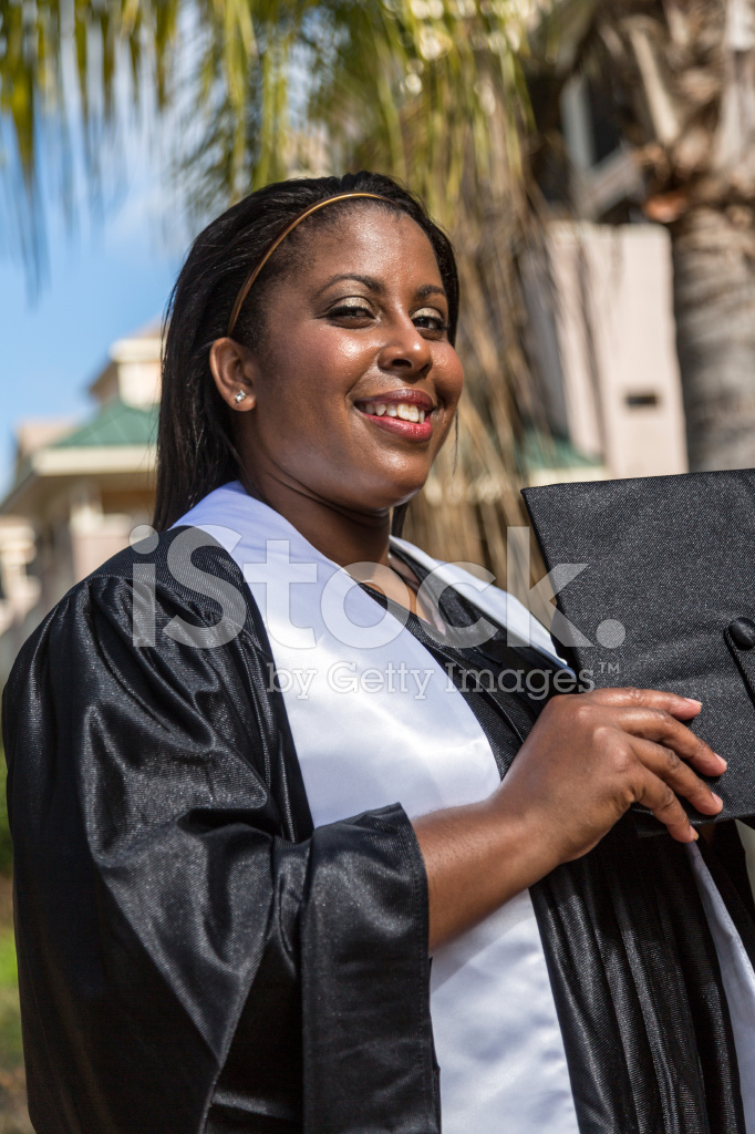African American Woman IN Black Cap & Gown Stock Photos - FreeImages.com