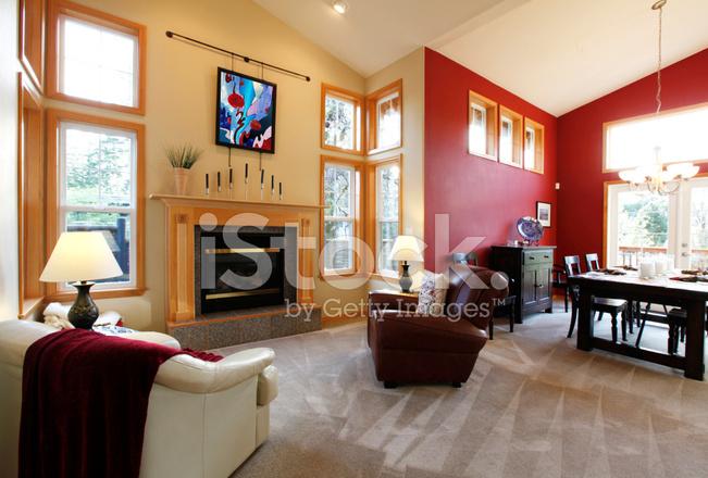 Modernes Großes Offenes Wohnzimmer MIT Rote Stockfotos ...