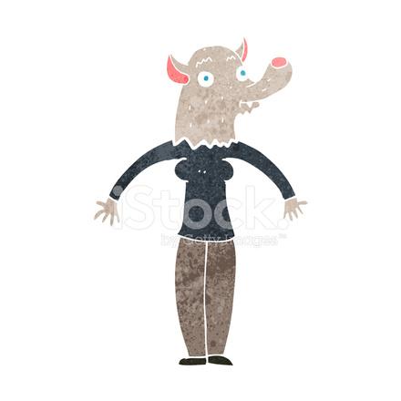 Mujer Hombre Lobo Amigable De Dibujos Animados Stock Vector