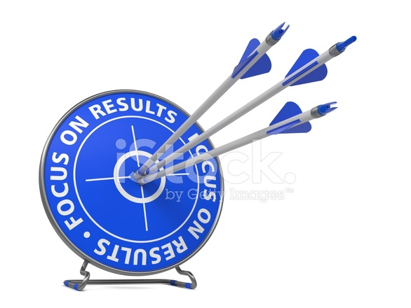 Focus On Results Slogan Hit Stock Photos