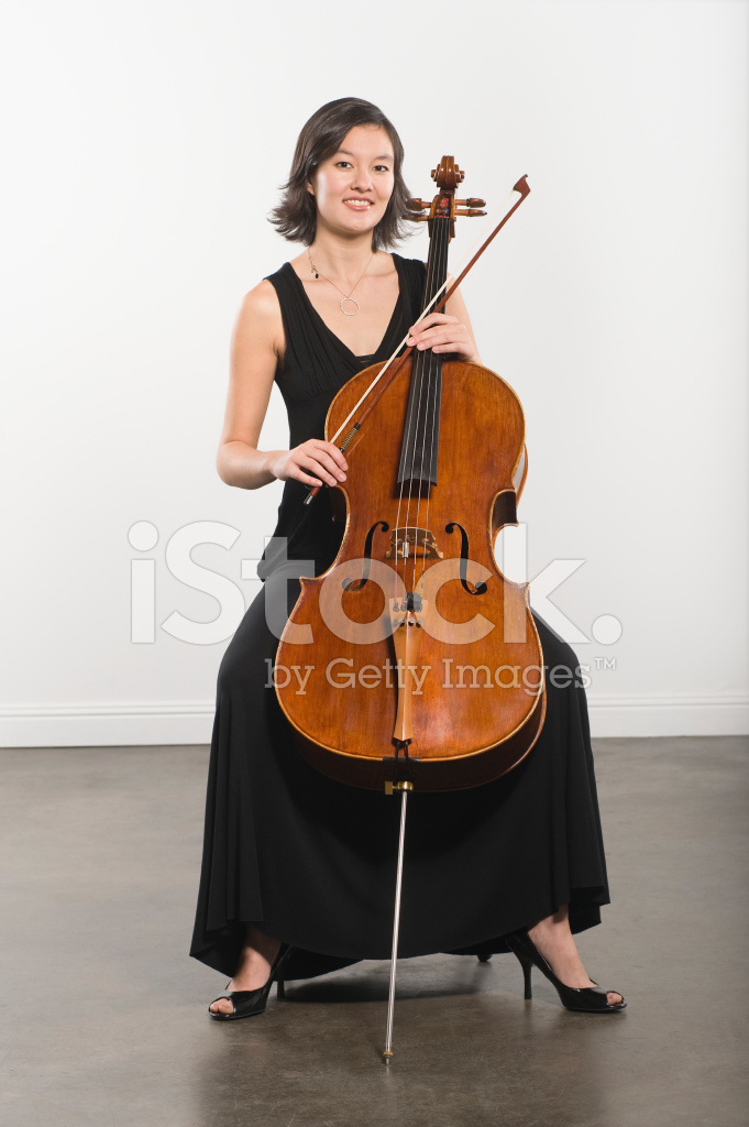 Young Woman Sitting With Cello Classical Music Instrument Stock