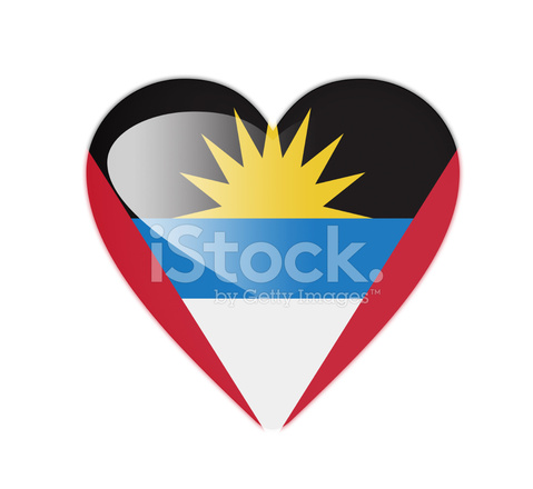 Antigua Y Barbuda 3d Corazonbandera fotografas de stock