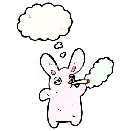 Cartoon Pink Rabbit Smoking Cigarette 575115