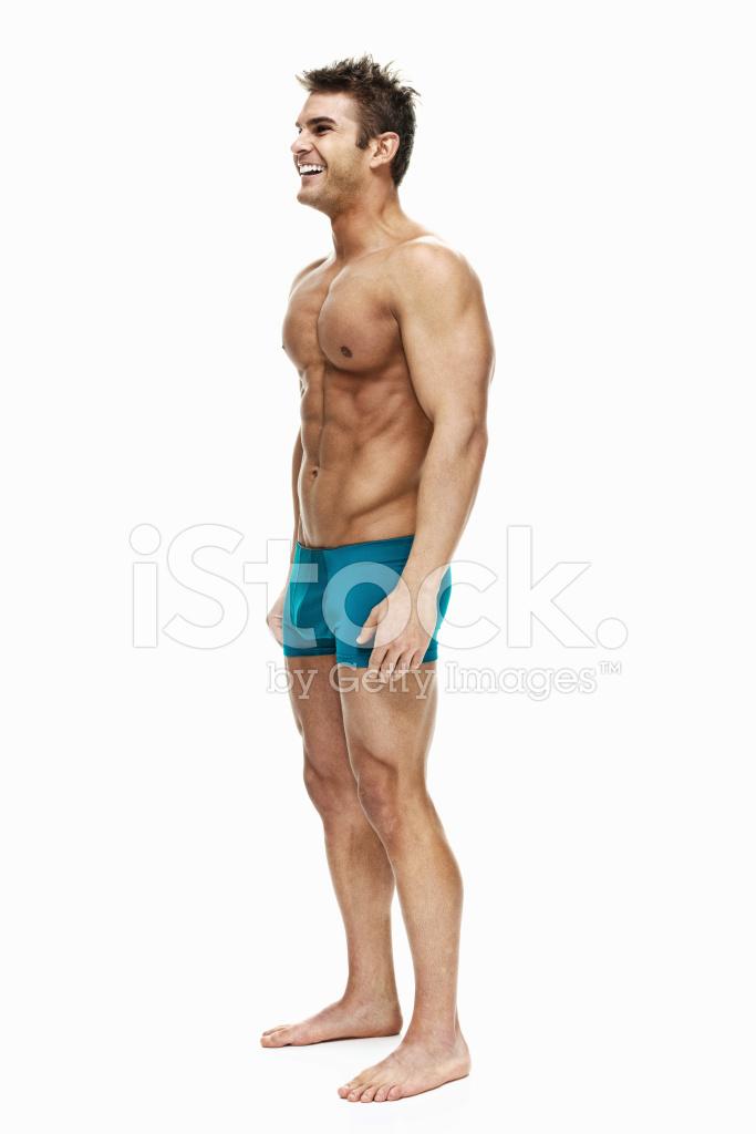 Nackter Oberkörper Muskulöse Mann Stand UND Wegsehen Stockfotos ...