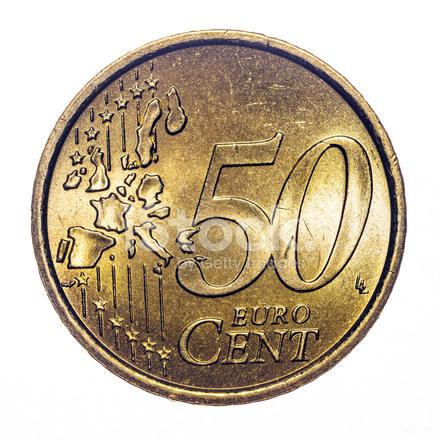 50 Euro Cent Münze Die Isoliert Auf Weiss 2002 Stockfotos