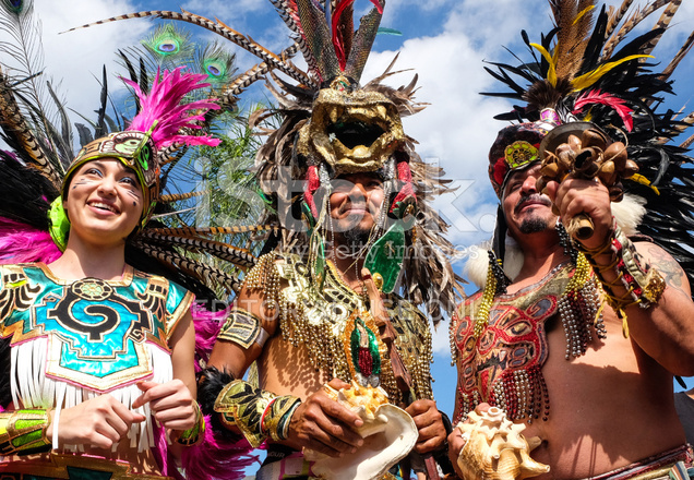 People Dressing As Aztecs Indians Stock Photos
