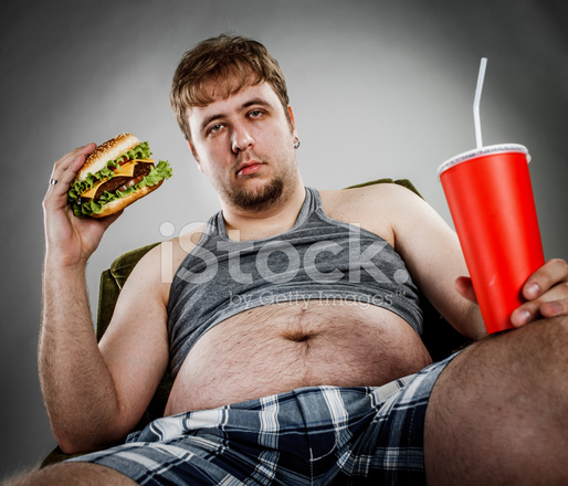 Fat Man Eating Hamburger Stock Photos Freeimages Com