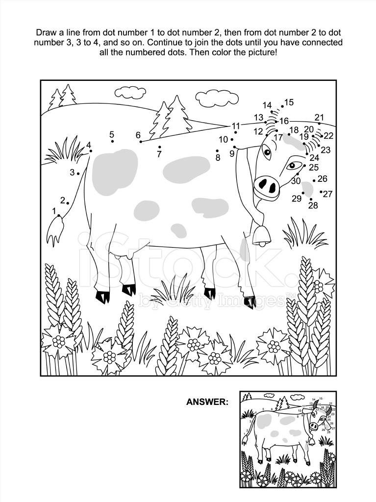 Página Para Colorear Y Punto A Punto Vaca Y Acianos Stock Vector ...