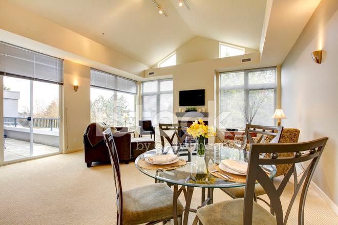 Ampio luminoso soggiorno e sala da pranzo con soffitto a