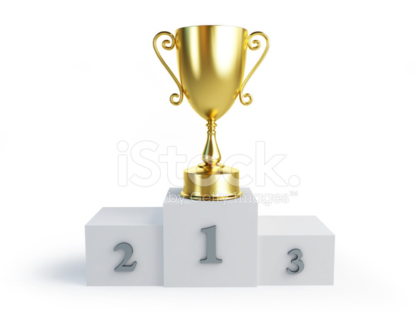 Gold Trophy Cup Winners Pedestal On A White Background